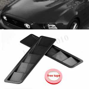 2pcs Carbon Fiber Style Bonnet Hood Vent Trim Louver Air Flow Intake For Honda