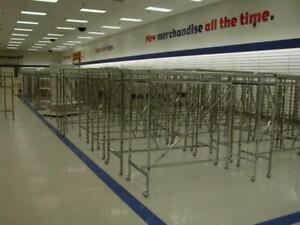 H Racks 5 Straight Used Clothing Store Displays Lot 25 Folding Rolling Double