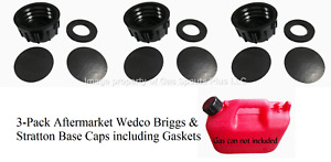 3 Pk Wedco Briggs Gas Can Base Solid Caps Blind Closed Storage Lid Viton Gasket