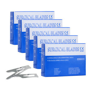 5 Boxes Dental Surgical Scalpel Sterilized Blades 15 Carbon Steel 100pcs box