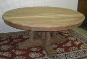 Antique Style Country French Barley Twist 72 Round Solid Hardwood Dining Table