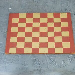 Vintage Plank Hand Painted Checkerboard With Breadboard Ends 14 By 20 Inches