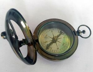 Nautical Brass Push Button Compass Antique Finish Marine Sundial Compass Vintage