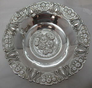 Sterling Silver 925 Fruit Candy Dish Stunning Floral Modern Detail 160 Grams