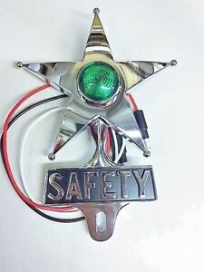 Vintage Green Safety Star License Topper With Dual Function Led Lowest Price