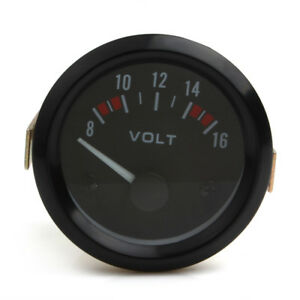 52mm Universal 2 Car Mechanical Volt Voltmeter Voltage Meter Gauge 8 16v Black