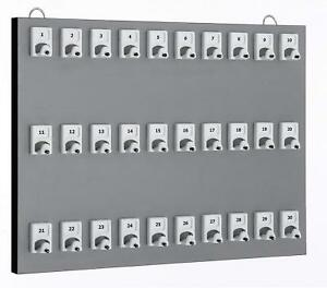 Keystand 30pgs 15 5 W 30 Numbered Hooks 30 Tag Rings Tray Gray New
