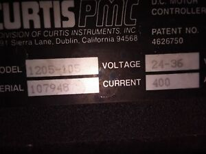 Curtis Pmc 24 36 Vdc Motor Controller Model 1205 105 Current 400 Used