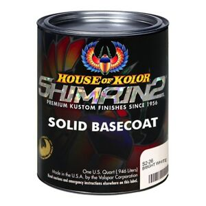 House Of Kolor S226 Bright White Shimrin2 Solid Basecoat quart