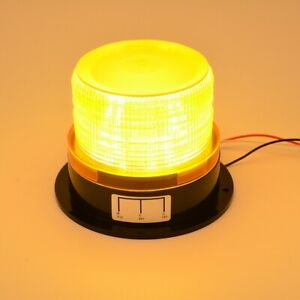 Led Flash Strobe Rotating Round Beacon Roof Top Emergency Light Amber 12 24v