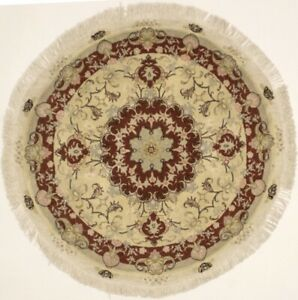 Excellent Hand Knotted Classic Design Round Persian Silk Rug Oriental Carpet 4x4