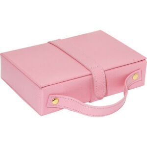 Budd Leather Travel Jewel Box With Mirror Pink Business Accessorie New