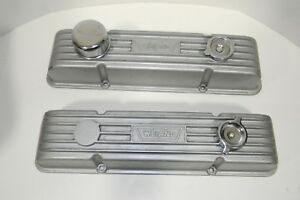 Vintage Weiand Small Block Chevy Finned Aluminum Valve Covers Exc Cond