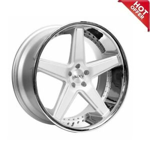 20 Staggered Azad Wheels Az008 Silver Brushed With Chrome Lip Rims