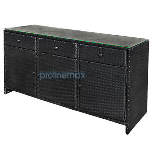 3 Drawers Blk Wicker Rattan Buffet Serving Cabinet Table Towel Storage Counter