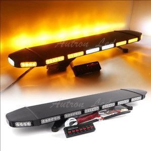 40 Led Amber Flash Warning Traffic Adviser Alley Signal Beacon Strobe Light Bar