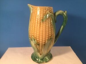 Pitcher Antique Victorian Majolica Corn Pitcher Yellow Green Home Decor Em306