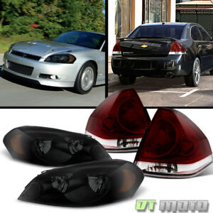 2006 2013 Chevrolet Impala Black Smoked Headlights Dark Red Tail Lamps Lights