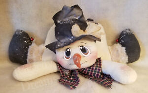 Handmade Primitive Folk Art Christmas Decoration Shelf Sitter Snowman Doll 4