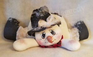 Handmade Primitive Folk Art Christmas Decoration Shelf Sitter Snowman Doll 5