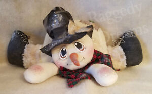 Handmade Primitive Folk Art Christmas Decoration Shelf Sitter Snowman Doll 1