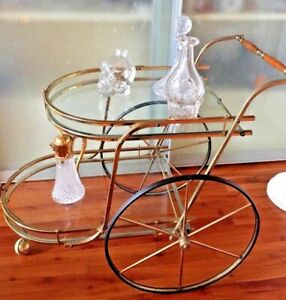Mid Century Italian Brass And Glass Rolling Server Bar Tea Cart Reduced