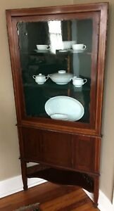 Antique Mahogany Inlaid Corner China Display Cabinet Original Glass