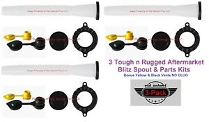 3 Pack Blitz Gas Can Spouts Parts Kits Free Air Breather Vents Tough N Rugged