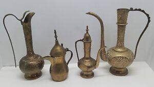 4 Antique Vtg Tall Ornate Etched Brass Teapot Coffee Tea Pitchers Lot India Rare