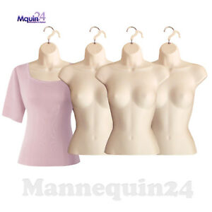 4 Pack Female Torso Mannequins Flesh Women Dress Body Forms 4 Hangers