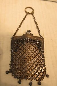 Victorian Art Nouveau Metal Mail Chatelaine Purse