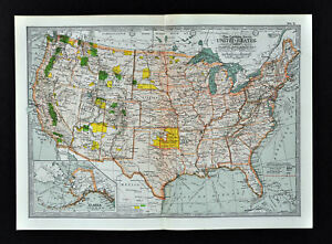 1902 Century Map United States Forest Parks Indian Territory Oklahoma Texas