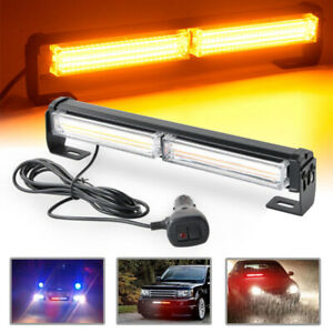 36w Cob Led Emergency Warning Hazard Flash Strobe Beacon Light Bar Yellow Amber