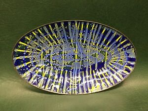 Mid Century Modern Signed Rhoda Handmade Enamel On Copper Oval Dish Blue Yellow