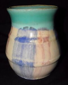 Arts And Crafts Style Pottery Vase With Multi Coloring 6 1 2 Tall X 4 3 4 Mout
