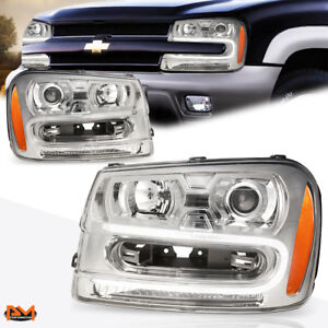 For 02 09 Chevy Trailblazer Led Drl Projector Headlight Amber Side Chrome Pair