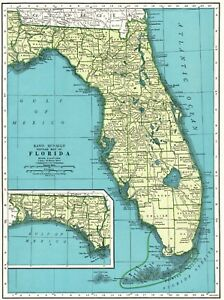 1945 Antique Florida Map Vintage Florida State Map Travel Gallery Wall Art 6138