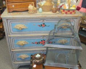 Antique Wooden 4 Drawer Cottage Dresser In Old Blue Gray Paint Red Flowers