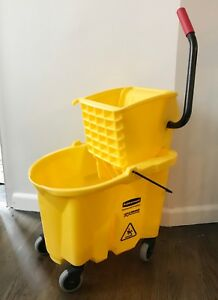 Rubbermaid Commercial Wavebrake Side Press Wheels Yellow Mop Ringer Bucket Great