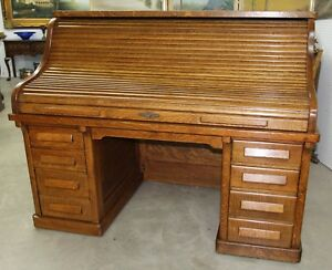 Antique American 66 Golden Oak Rolltop Desk Dorsey Printing Co Dallas Tx C1904