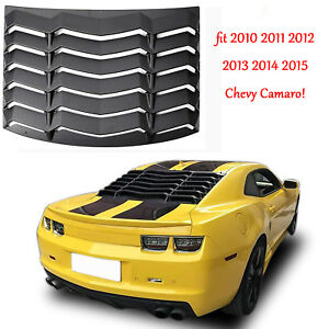 Fit 2010 2015 Chevy Camaro Rear Window Louver Sun Shade Scoop Cover Black Abs