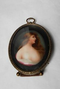 19th C Semi Erotic Miniature Portrait Young Woman On Porcelain Original Frame
