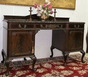 Antique Burl Walnut Carved French Buffet Sideboard Console Circa 1880
