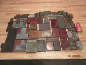 59 Vintage Antique Wood Printing Press Print Blocks Lead Copper Pictures Books