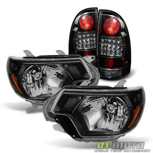Black For 2012 2015 Toyota Tacoma Pickup Headlights Led Tail Brake Lamps Lights