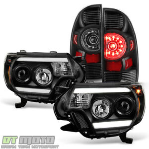 For Black 2012 2015 Toyota Tacoma Led Tube Drl Projector Headlights Tail Lights