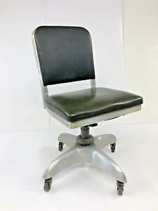 Vintage Industrial Office Chair Swivel Aluminum Goodform Mid Century Desk Green
