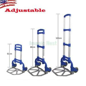 Blue Luggage Cart Folding Dolly Push Truck Hand Collapsible Trolley Black Friday
