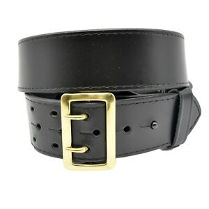 Perfect Fit Sam Browne Black Leather Police Duty Belt Size 44 2 1 4 Width Plain