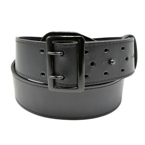 Perfect Fit Sam Browne Black Leather Police Duty Belt Size 48 2 1 4 Width Plain